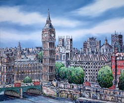 Big Ben and Westminster by Phillip Bissell - Original Painting on Stretched Canvas sized 47x39 inches. Available from Whitewall Galleries